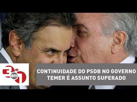 Aécio Neves Sinaliza Que Continuidade Do PSDB No Governo Temer é Assunto Superado