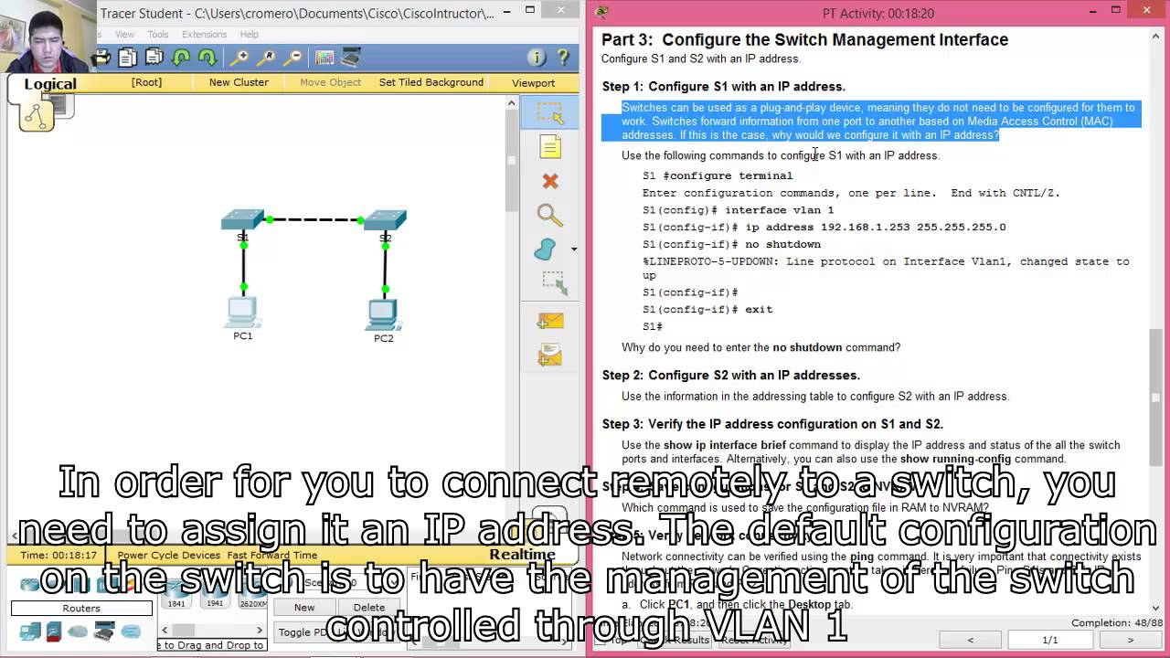 2 3 2 5 Packet Tracer - Implementing Basic Connectivity
