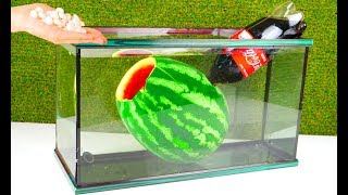 Experiment: WATERMELON and Coca Cola Mentos Under Water