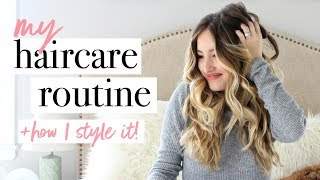 HAIR CARE ROUTINE + STYLING | Wet to Dry | Beachy Waves
