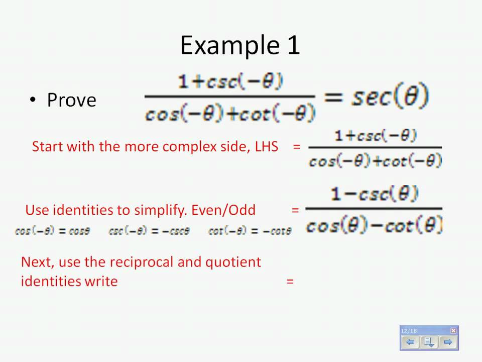Verifying Trigonometric Identities - YouTube