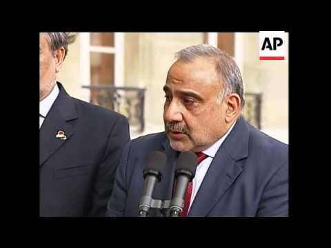 Iraq's vice pres meets Sarkozy to discuss possible oil and business deals