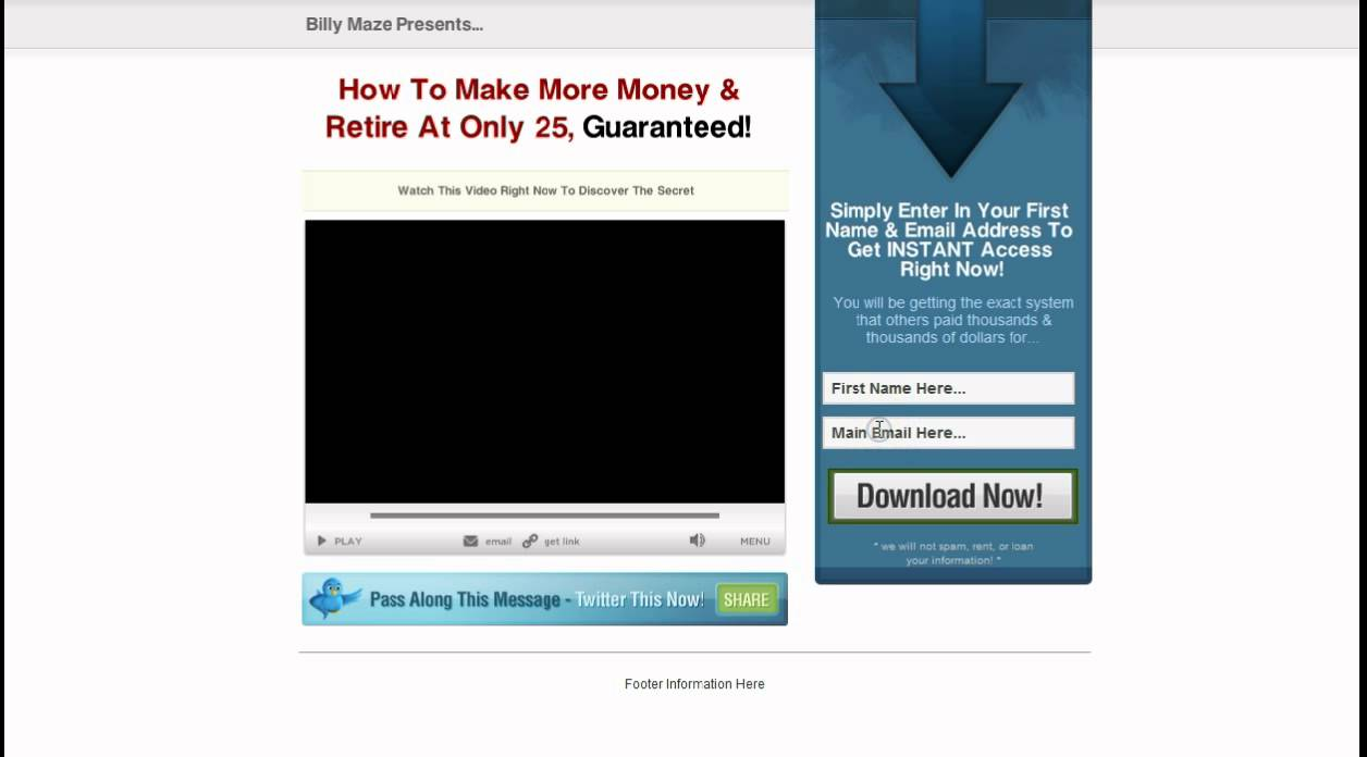 Landing Page Templates And Squeeze Page Templates From Hot Video - Video landing page templates