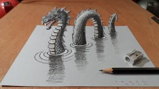 Drawing 3D Loch Ness Monster, Long Version