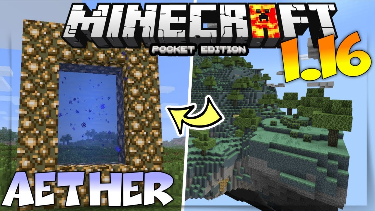 Mcpe 1 16 Aether Portal How To Go To The Aether In Minecraft Pe 1 16 Mcpe Aether Portal Mod Youtube