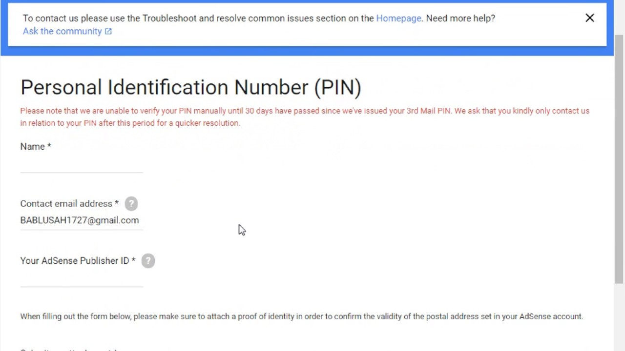 i did not receive pin how to verify my google ad sense account