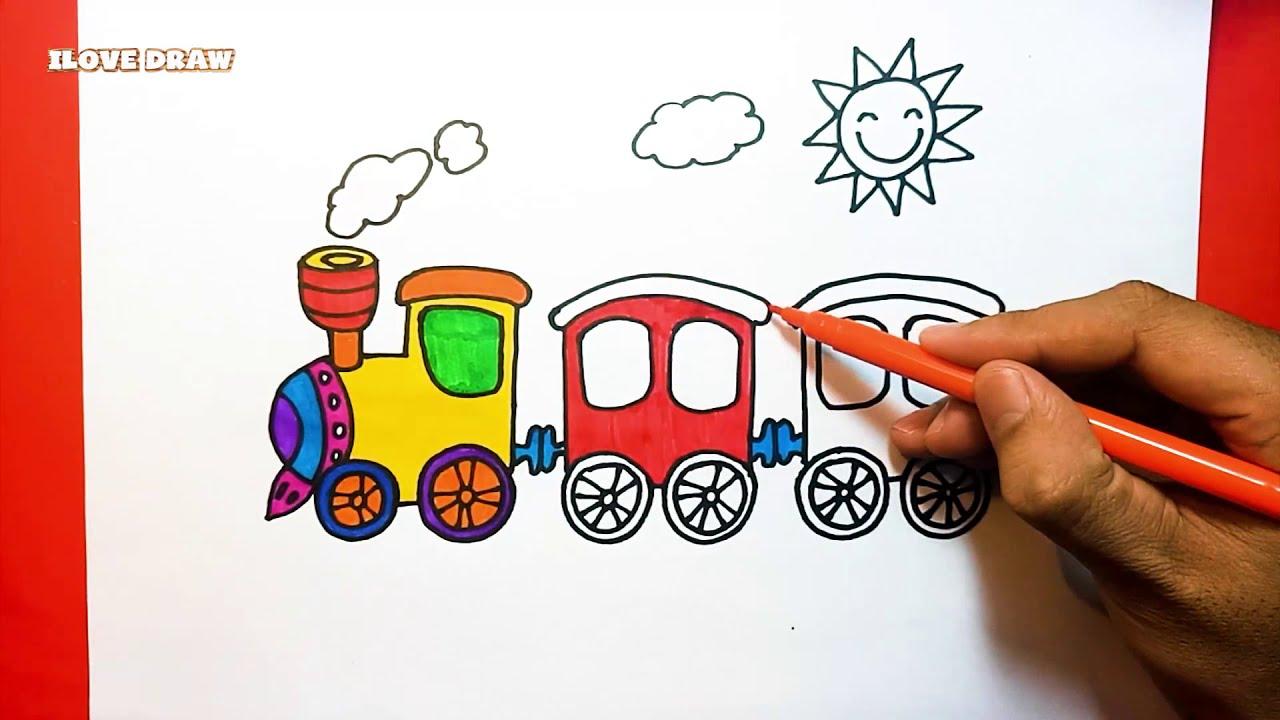 Vẽ tranh tàu hỏa –  Cách vẽ tàu hỏa đơn giản – Dạy bé vẽ tàu hỏa – How to Draw A Train – Duy Hiếu