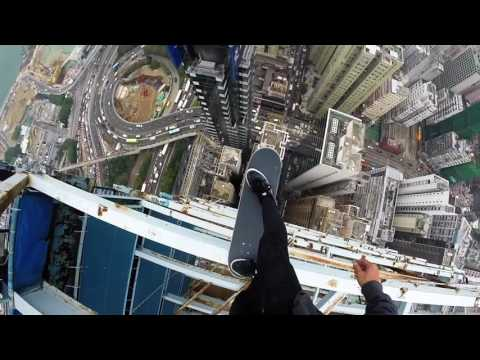 skateboarding on hongkong high building