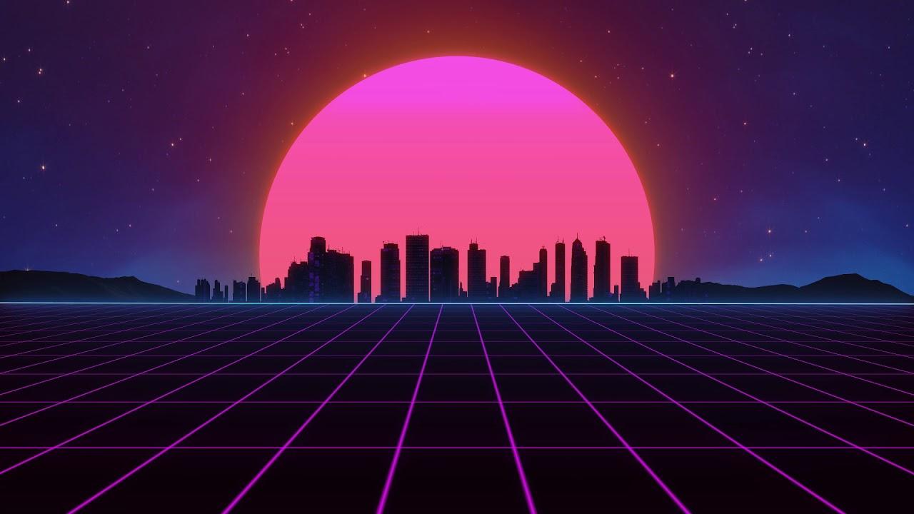 Wallpaper Neon 80s Grid