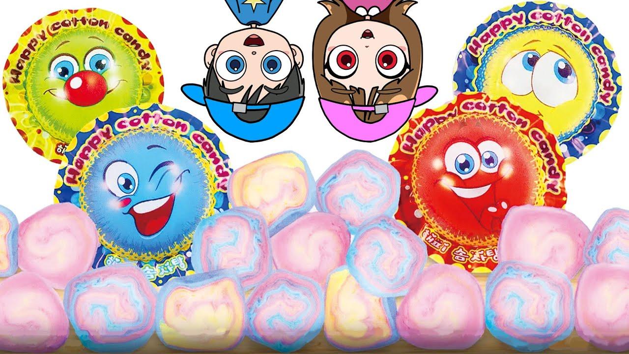 Giant Cotton Candy Mukbag ASMR KOYA and NEMI