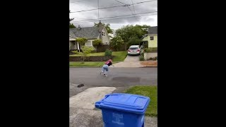 Poor Woman Didn't Know How To Stop The Skateboard