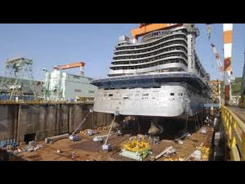 Time Lapse -Construction of  largest Cruise ship ,lengthening and ship launch - Times Lapse Video