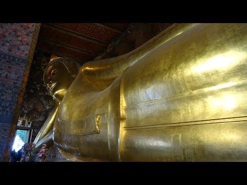 A Walk around the Beautiful Temple of the Reclining Buddha Wat Pho in Bangkok, Thailand