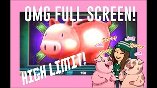 OMG FULL SCREEN! 2 Jackpots! Piggy Bankin' Slot Bonus Montage! $10/$15/$20 Bets!