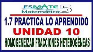 Practica lo Aprendido 5° Unidad 10 Lección 1.7