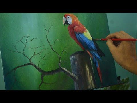 Acrylic Painting Lesson - The Parrot by JM Lisondra