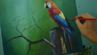 Acrylic Painting Lesson - The Parrot Bird by JM Lisondra