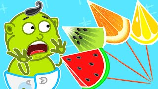 Lion Family 🍒 Learn Fruits with Ice Cream | Cartoon for Kids