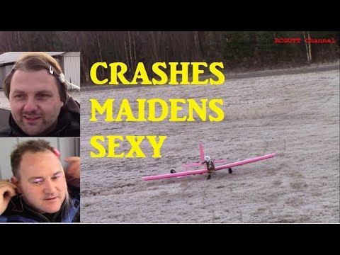 Crashes - Maidens - Man with LED lashes - Flite test build