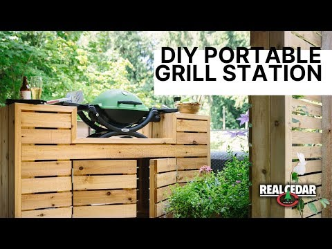 DIY Portable Outdoor Grill Station and Bar Combo
