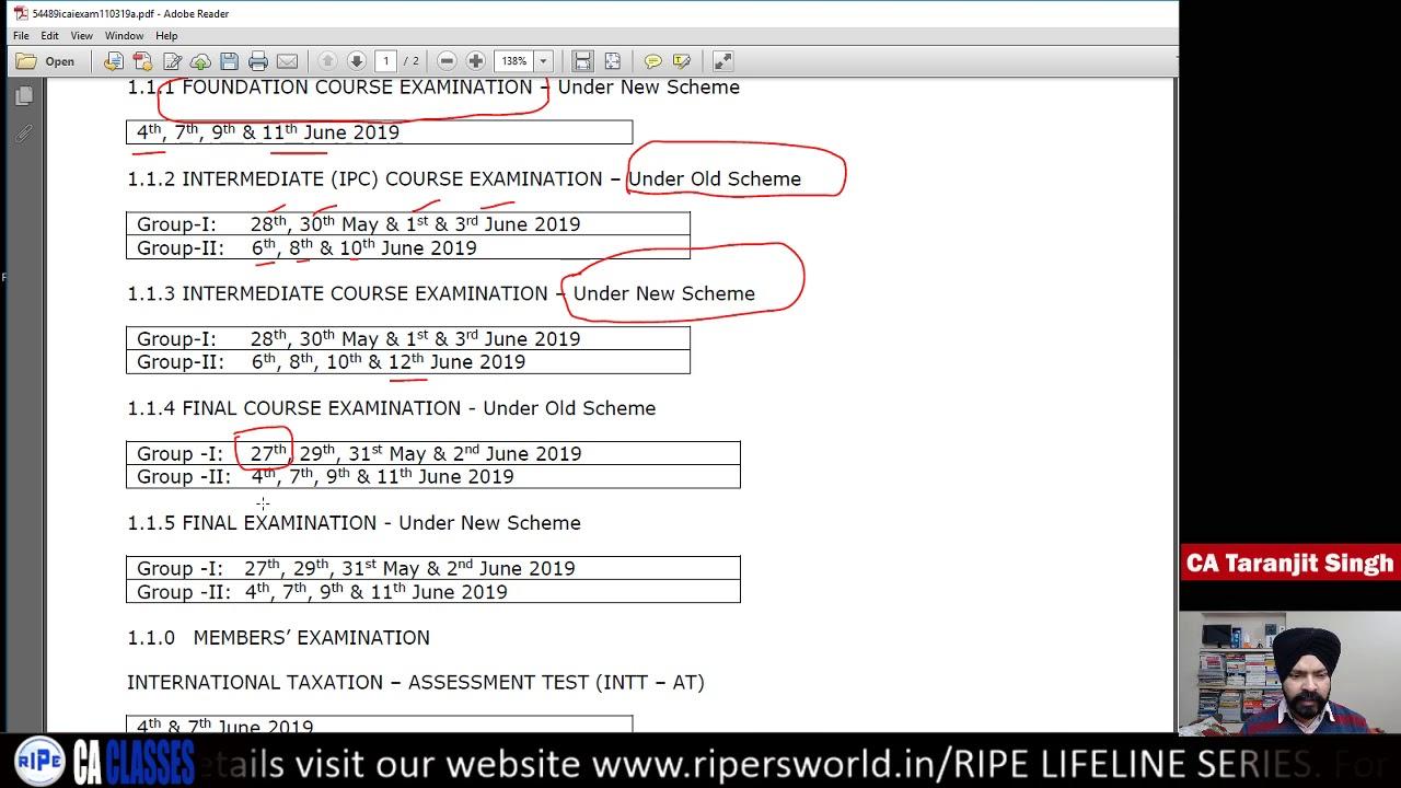 Ca Final Exam Form Pdf