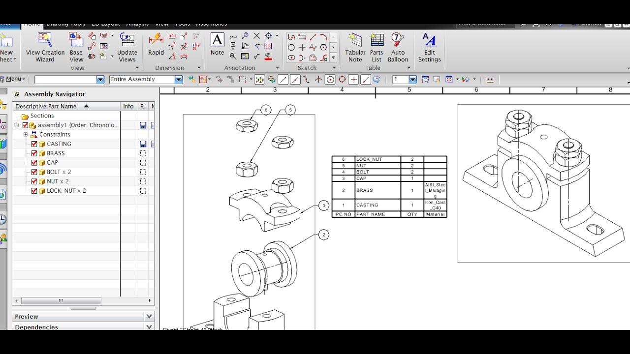 PARTS LIST AUTO BALLOONS ADDING MATERIAL IN PARTS LIST IN NX – Material List