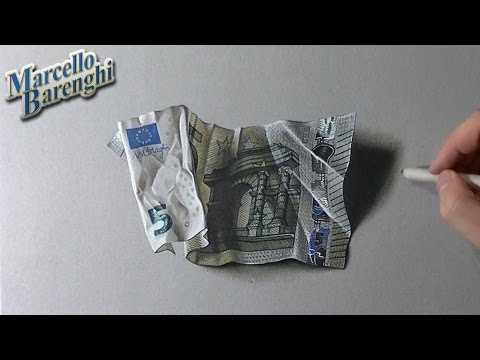 Drawing time lapse: 5 euro banknote – hyperrealistic art