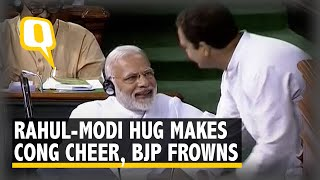 Congress Hails Rahul's 'Unscripted' Hug to Modi, BJP Calls it 'Drama' | The Quint