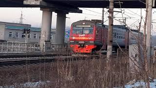 Электропоезд ЭД9М 0267 с сообщением Аэропорт Владивосток