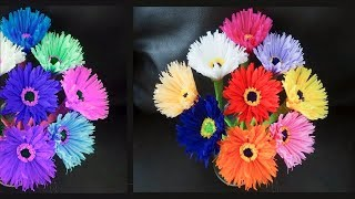 How to make beautiful flowers using old shopping bag - DIY Shopping bag flower
