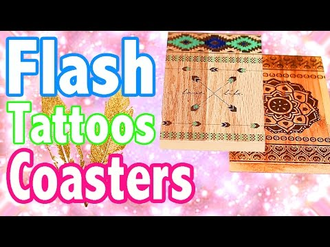 DIY Flash Tattoos Coasters - Music Festival Tumblr Trendy for your Room