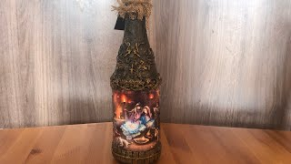 DIY: How to make Christmas decoration on a champagne bottle TUTORIAL