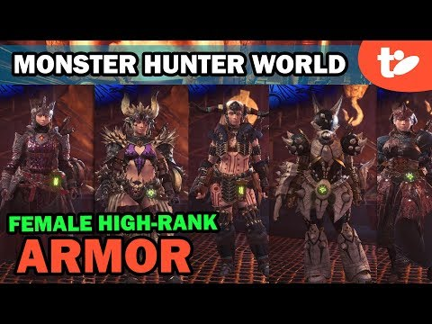 Monster Hunter World Female Armor Sets, Skills & Color Editor | High Rank (Part 2)