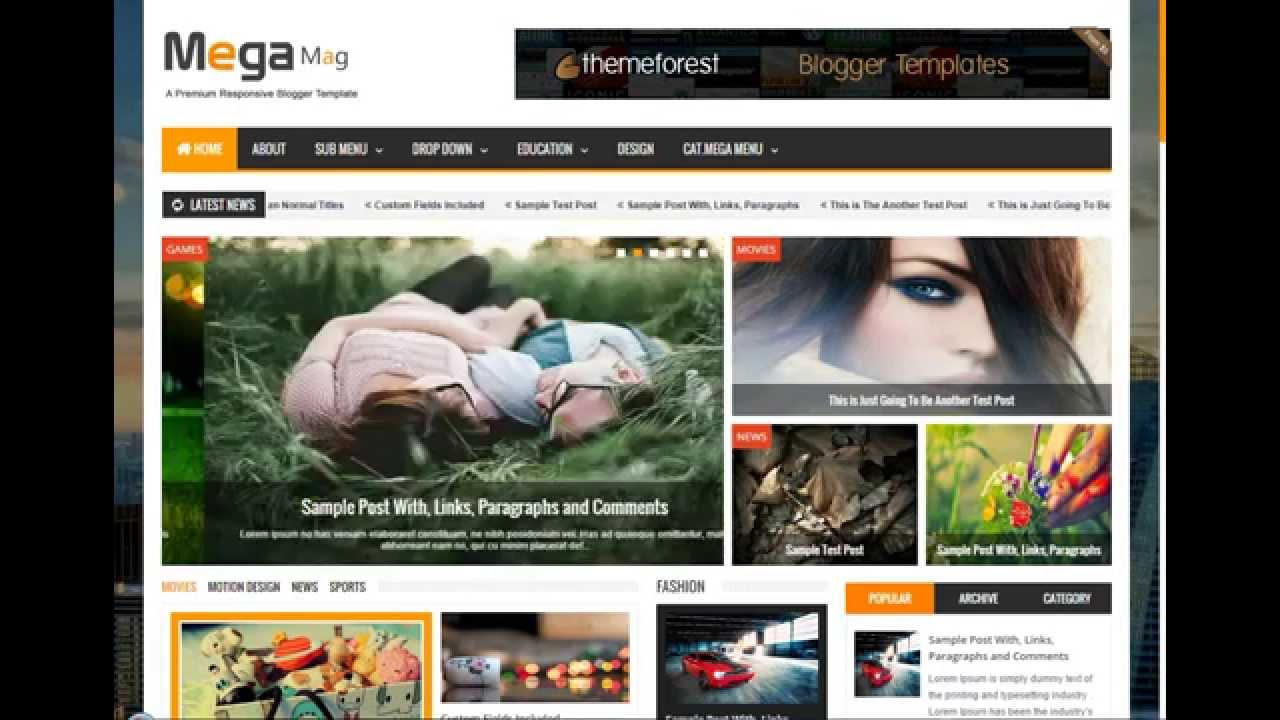 Free Download Blogger Template Mega Mag Responsive Magazine great ...