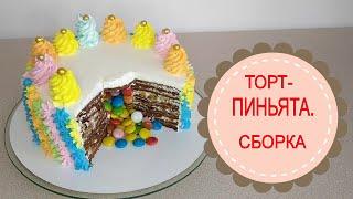 ТОРТ ПИНЬЯТА Торт с сюрпризом внутри Простая СБОРКА оригинального торта