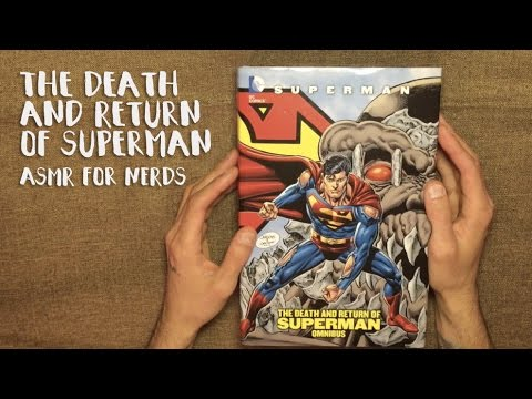 ASMR Death of Superman Comic Reading - Whispering, Big Book, Page Turning
