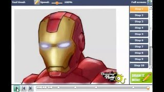 iron man head shot drawing lesson
