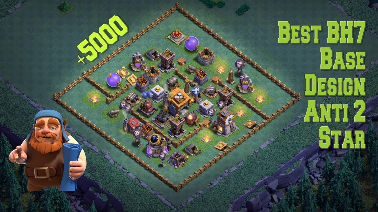 Builder Hall 7 Best Anti 2 Stars Base Bh7 Best Base Clash Of Clans Youtube