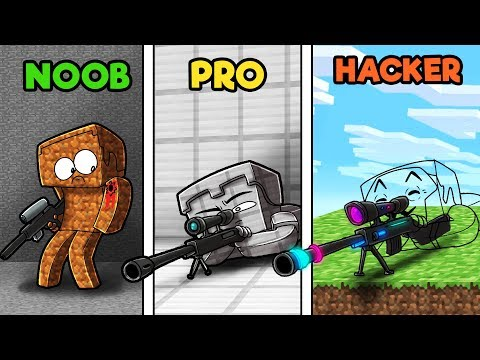 Minecraft - SNEAKY HIDDEN SNIPERS! (NOOB vs PRO vs HACKER)
