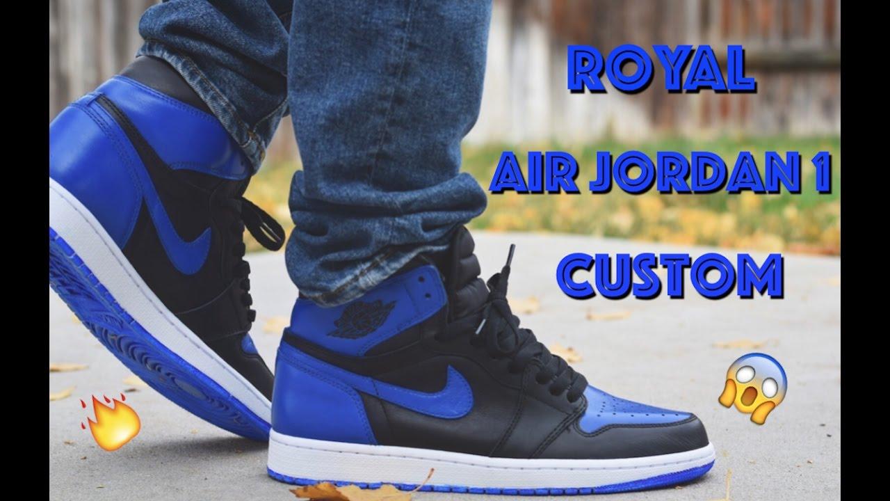 6da3aa51812 Royal Air Jordan 1 Custom! (Full Tutorial + On Feet). Meeks Shoes