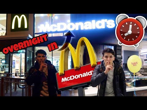 I Spent The Night In McDonald's And It Was Crazy! (24 Hour Overnight Challenge In McDonald's!)