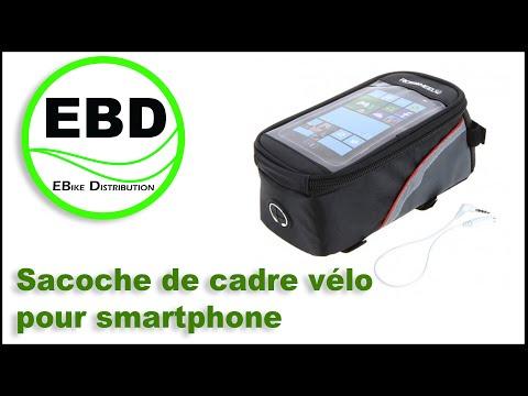 Sacoche Double de Cadre Vélo pour Smartphone+Lumière de Queue de Vélo