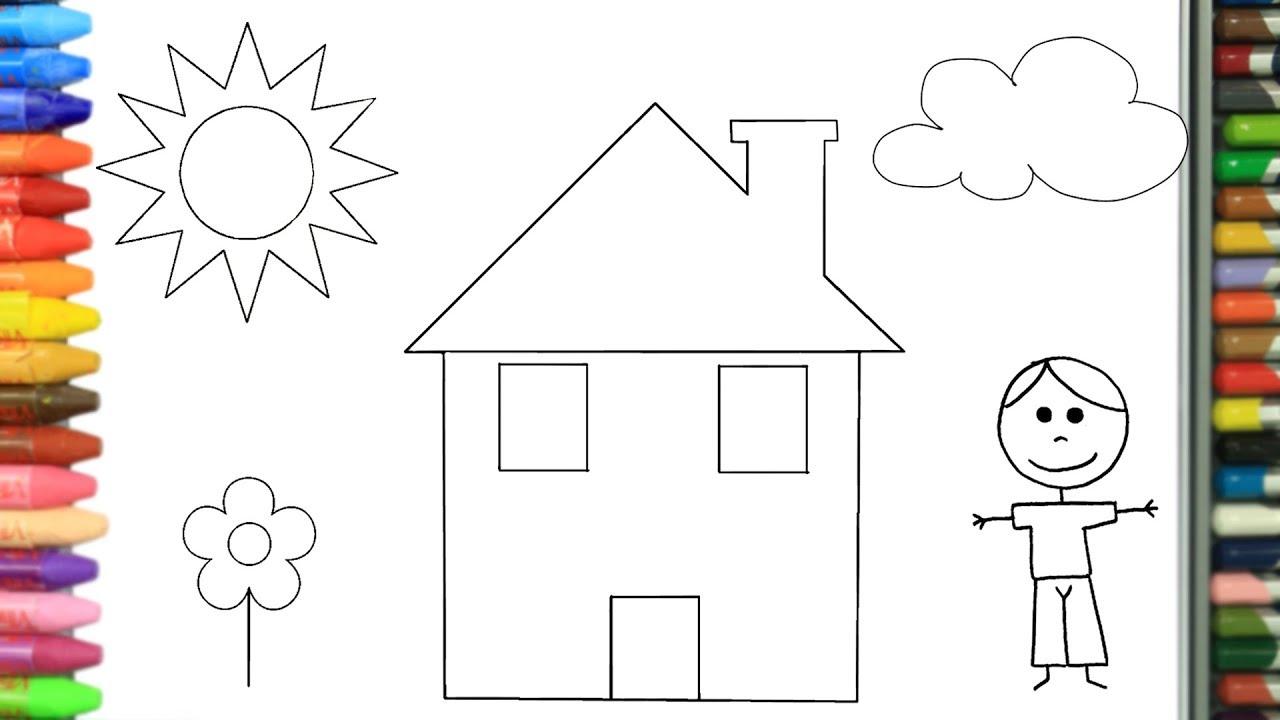 Cómo Dibujar Y Colorear Casa Y Niño Dibujos Para Niños Aprender Colores