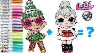 LOL Surprise Dolls Coloring Book Page Mash Up Sleigh Babe and Tinsel LOL Surprise Winter Disco
