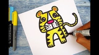 """How to turn Letter """"T"""" into a Cartoon TIGER ! Learn drawing art on paper for kids"""