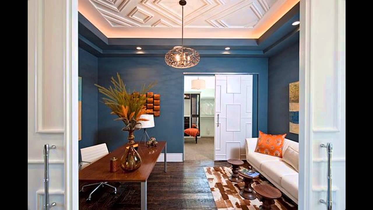 Home office wall color design and decorations - YouTube