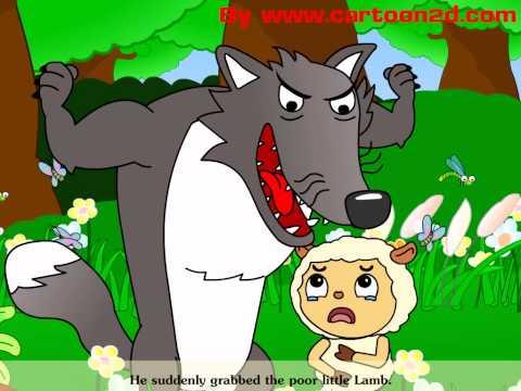 """นิทานอีสปภาษาอังกฤษเรื่อง """"หมาป่ากับแกะ"""" The Wolf and the Lamb story"""