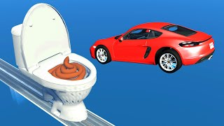 Cars Jumping Into Toilet - BeamNG Drive