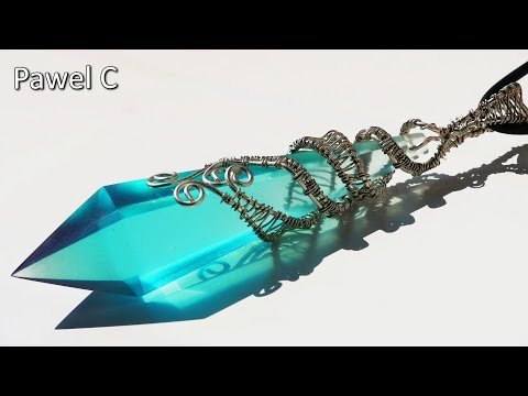 Crystal Blue Pendant with Epoxy Resin and Wire/ ART RESIN / Part 2