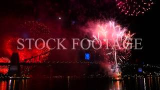 Stock footage. Sydney Harbour Bridge, New Year's Eve 2014, Fireworks display in 4k
